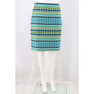 J. Crew The Pencil Skirt Geo Print Basketweave